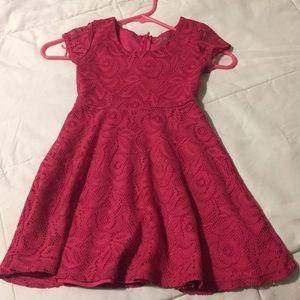 Girls Pink Crochet Dress. Size 6/6X